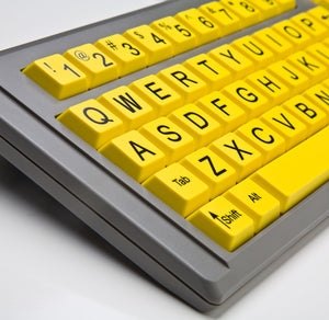 Ablenet BigKeys LX USB Wired QWERTY Large Print Keyboard Yellow Keys with Black Jumbo Oversized Print Letters for Visually Impaired Individuals