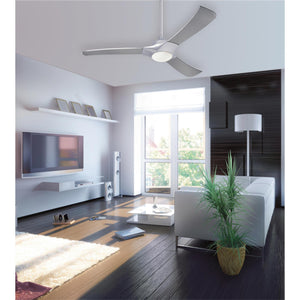 Westinghouse Lighting 7800200 Techno 52-Inch Brushed Aluminum Indoor LED Ceiling Fan, Light Kit with Opal Frosted Glass