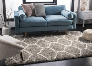 Safavieh Hudson Shag Collection SGH280B Grey and Ivory Moroccan Ogee Plush Area Rug (8' x 10')
