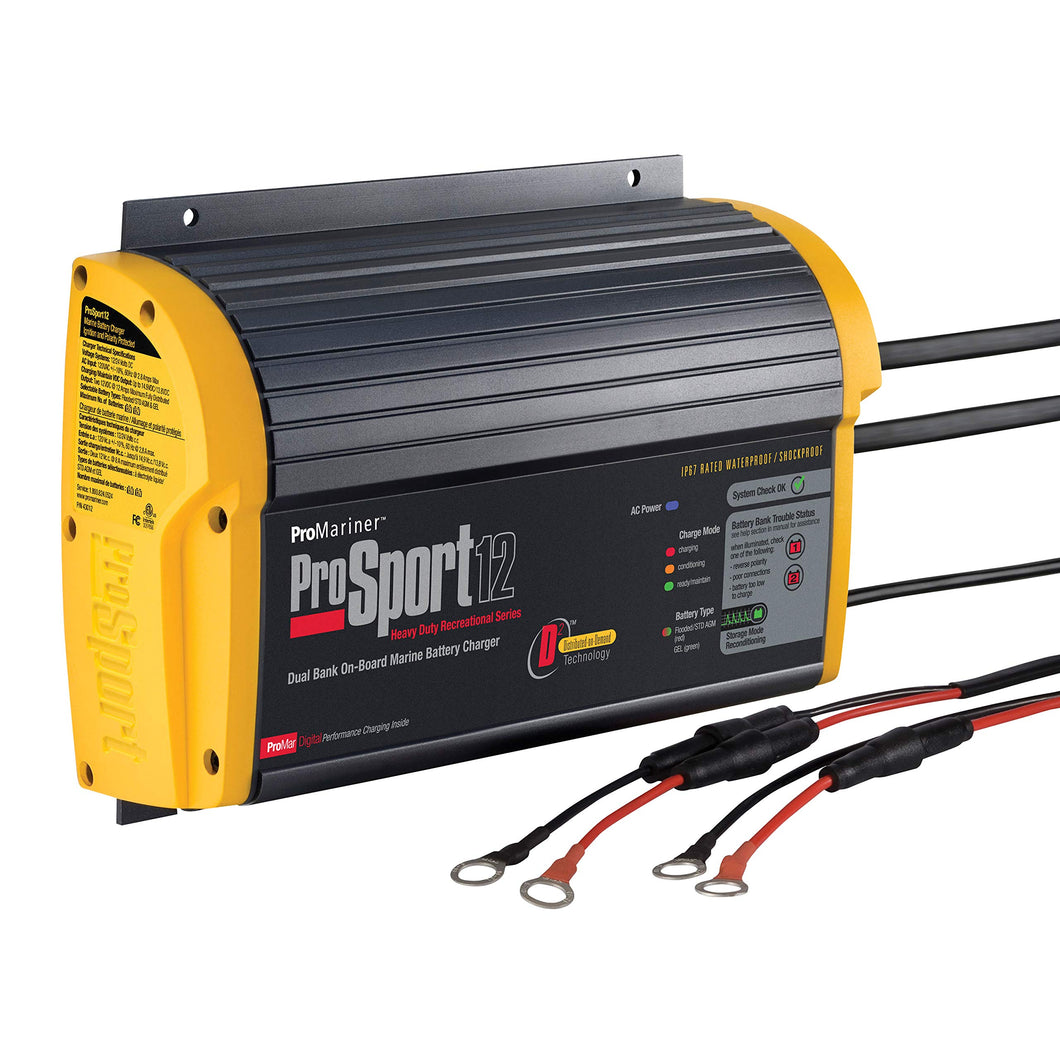 ProMariner 43012 ProSport 12 12 Amp, 12/24 Volt, 2 Bank Generation 3 Battery Charger