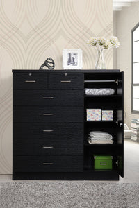 Hodedah 7 Drawer Jumbo Chest, Five Large Drawers, Two Smaller Drawers with Two Lock, Hanging Rod, and Three Shelves, Black