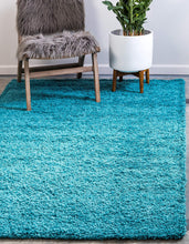 Load image into Gallery viewer, Unique Loom Solo Solid Shag Collection Modern Plush Deep Aqua Blue Area Rug (8' 0 x 11' 0)