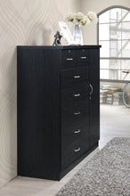 Load image into Gallery viewer, Hodedah 7 Drawer Jumbo Chest, Five Large Drawers, Two Smaller Drawers with Two Lock, Hanging Rod, and Three Shelves, Black