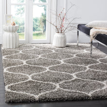 Load image into Gallery viewer, Safavieh Hudson Shag Collection SGH280B Grey and Ivory Moroccan Ogee Plush Area Rug (8' x 10')