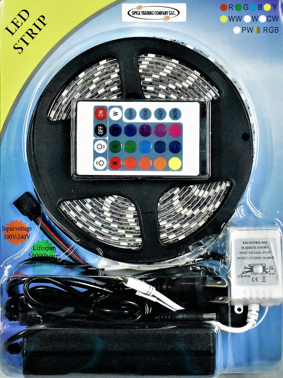LED Light Strip Kit (16.4ft) - With Power Supply and 24 button remote