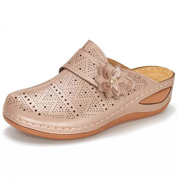 Women Metal Buckle Hollow Out Open Heel Casual Wedges Mule Sandals