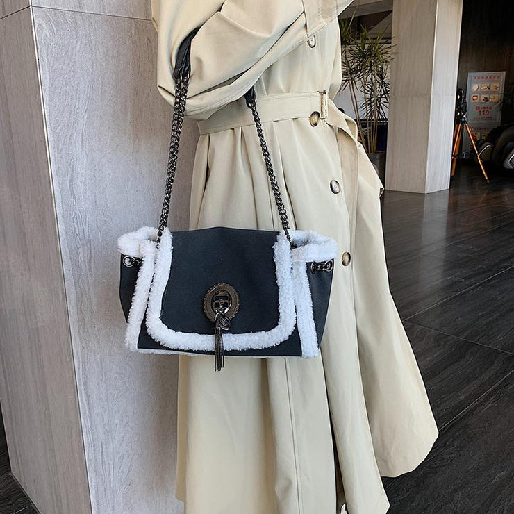 Women's Winter Fashion Lamb Plush Shoulder Crossbody Chain Bag