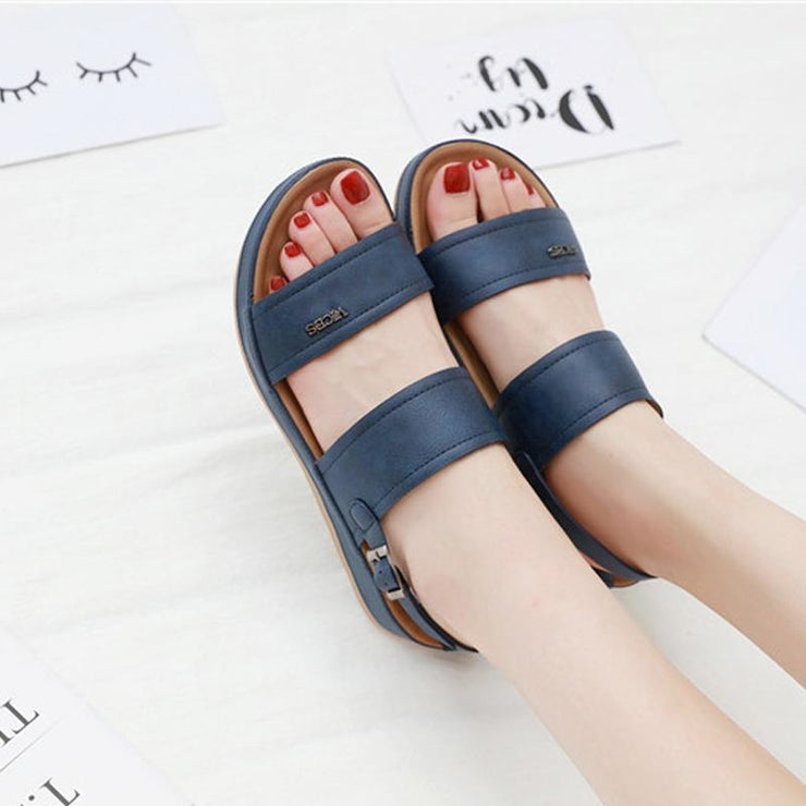 Women Fashion Leather Knot Sandals Low Heel Women's Summer Sandal Shoes Contrast Color Comfort Ladies Women Shoes Big Size
