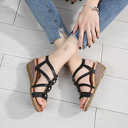 Woman Summer Shoes Sandals Women Fashion Design Flower Ankle Strap Wedges Sandals High Heel Gladiator Sandalias