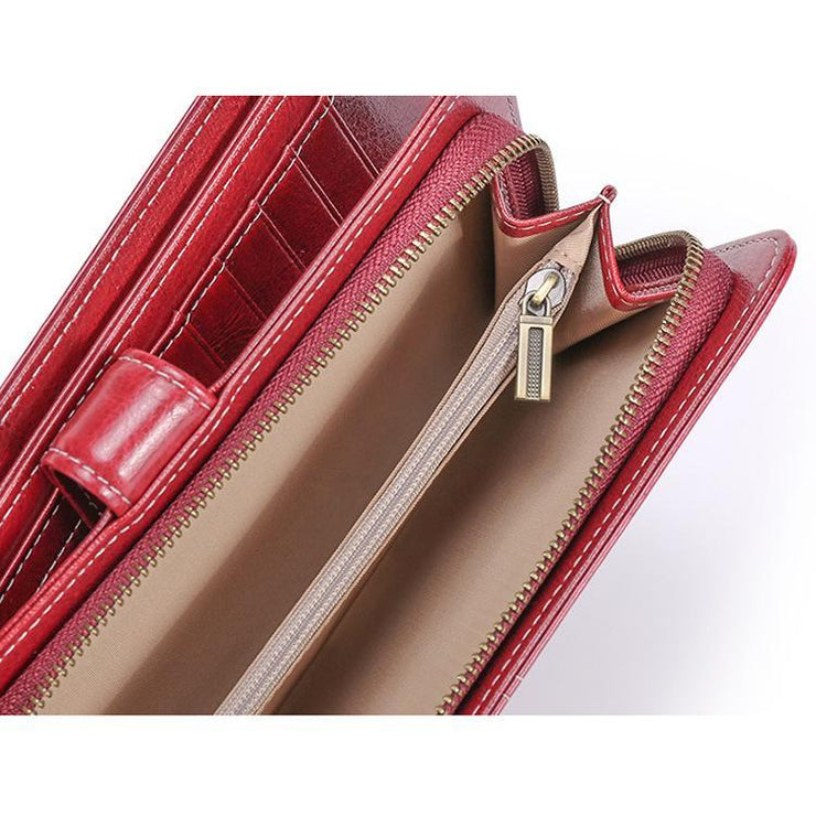 Women Genuine Leather Rfid Multi-card Slot Wallet