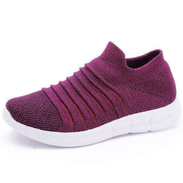 Women Comfy Walking Light Knit Elastic Band Sneakers