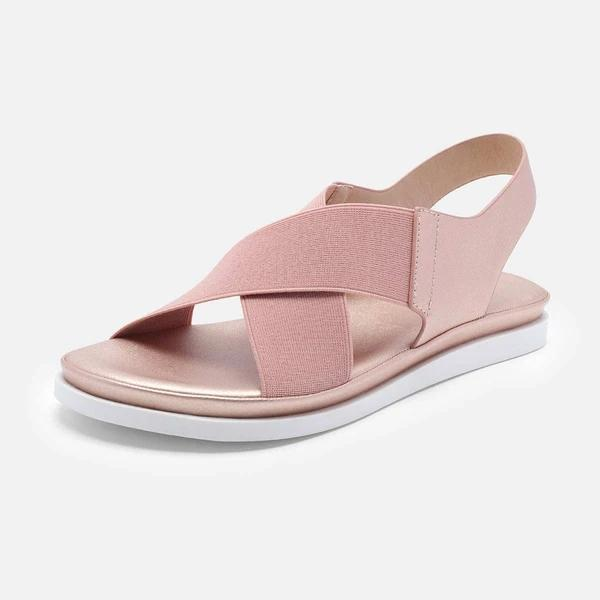 Women Comfy Sole Slip On Sandals Elastic Textile Splicing Sandals
