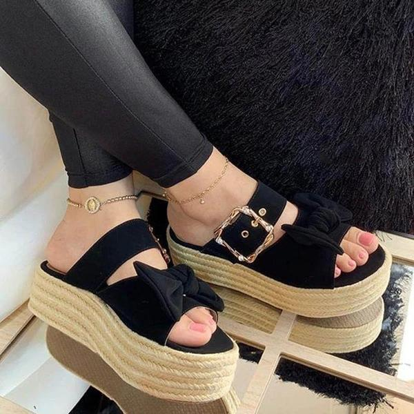 Women Wedge Heel Summer Faux Suede Sandals