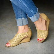 Women Cut-outs Slip On Wedges Sandals
