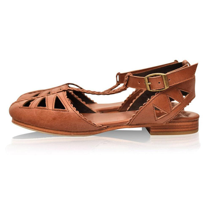 Women's T-strap Leather Sandals
