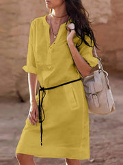 Women's Linen Basic V-Neck Casual Dress