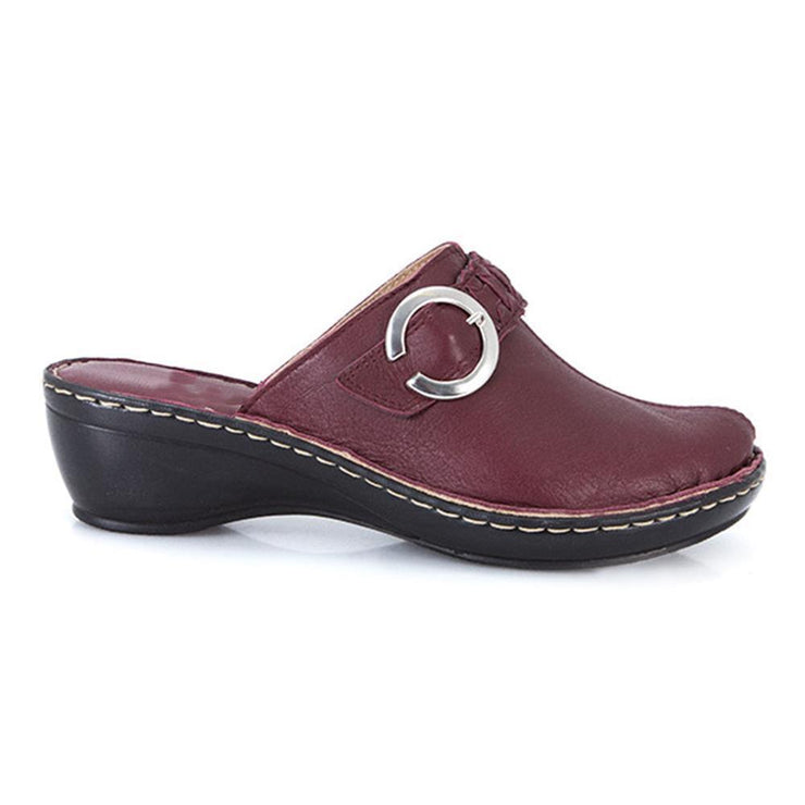 Women's Leather Mule Clog with Plaited Band & Buckle