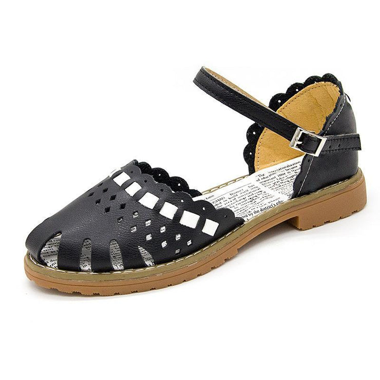 Women's sandals female fashion hollow hole shoes women leather buckle sandals