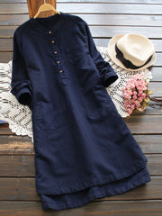 Women's Linen Casual Buttoned Stand Collar Dresses