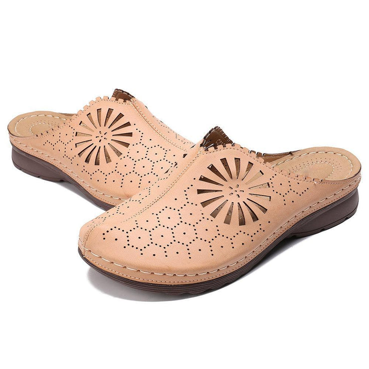 Comfort Round Toe Clogs Casual Hollow Out Honeycomb Wedges Sandals