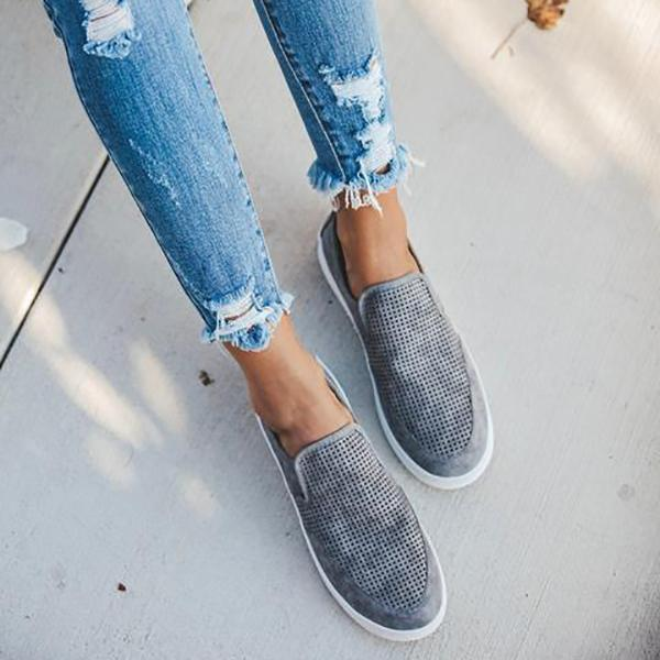 Women's Large Size Casual Solid Color Slip-On Flat Shoes