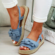 Women's Slingback Strap Slip-On Peep Toe Platform Bow Sandals