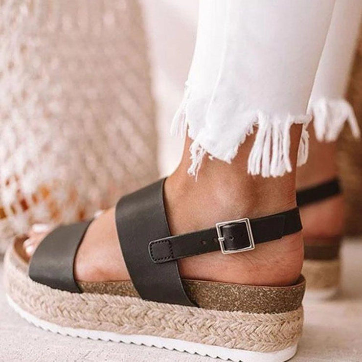 Women's Strappy Buckle Toe Ring Plain Sandals