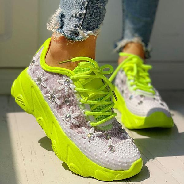 Women's Mesh Trim Lace-Up Sneakers