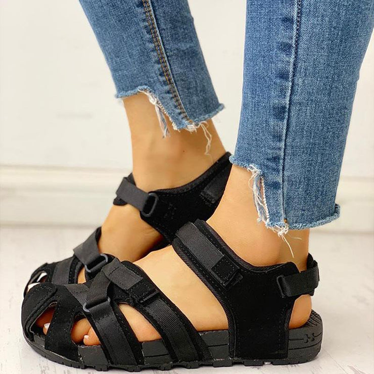 Women's Casual Hit Color Velcro Walking Sandals Red/Black