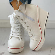 Women's Canvas Lace-Up Platform Chunky Heel Sneakers