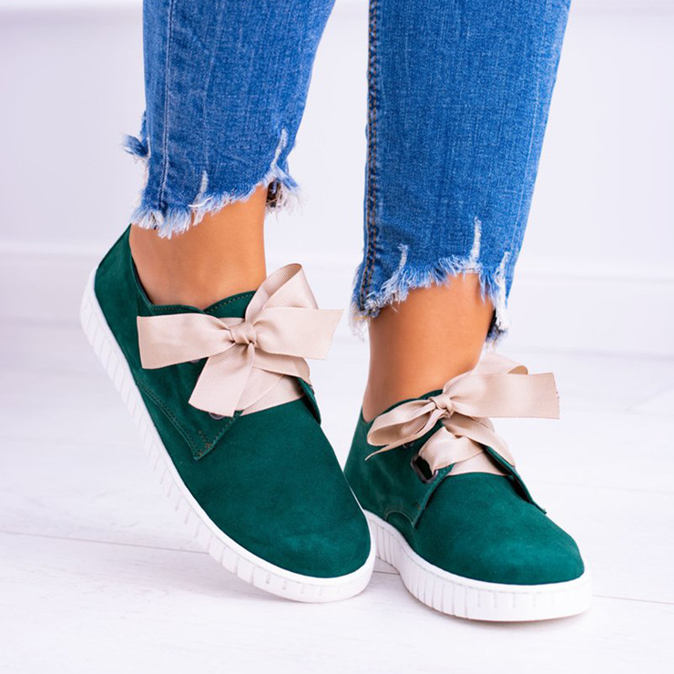 Women's Vintage Bow-knot Leather Casual Sneakers