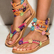 Women's Bohemian Chic Flat Sandals Zipper Bottomed Flowers Sweet Handmade Sandals in Brown