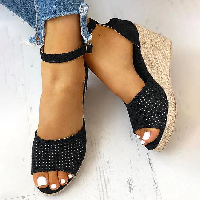 Women's Summer Casual Peep Toe Wedge Sandals
