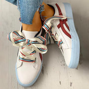 Women's Colorful Ribbon Lace-Up Casual Sneakers