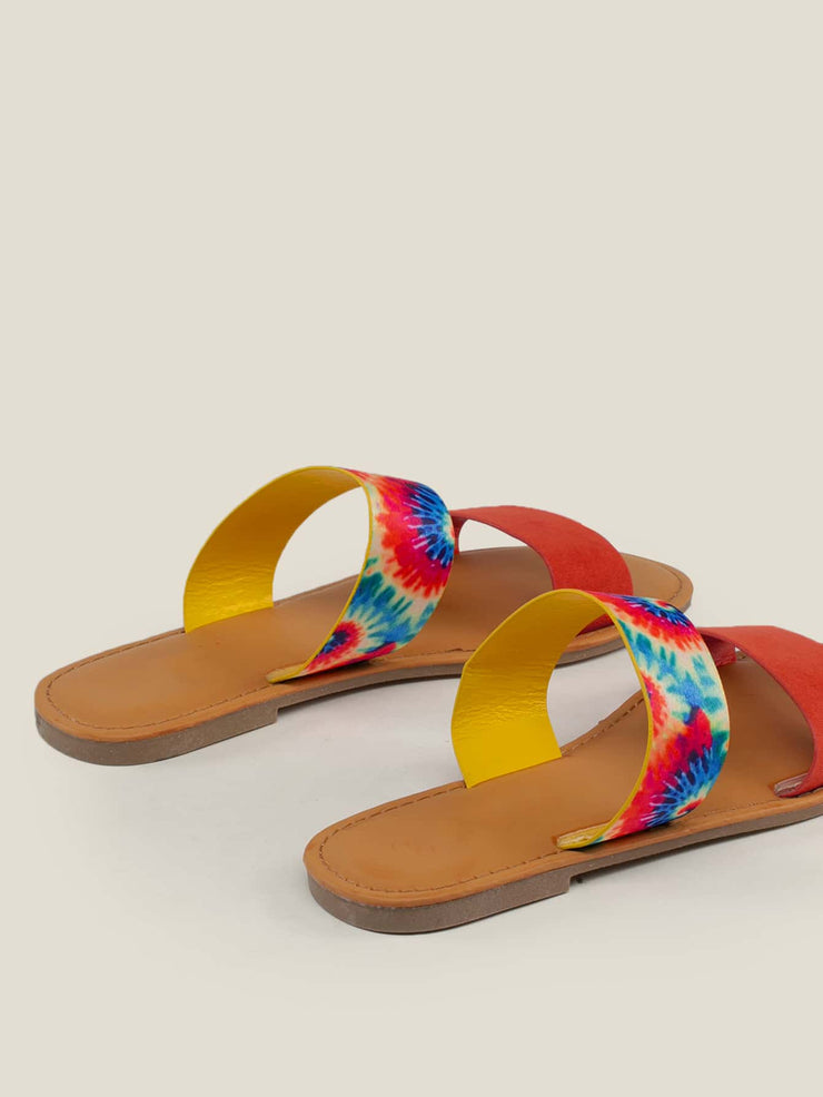 Women's Open Toe Tie Dye Double Band Slide Sandals
