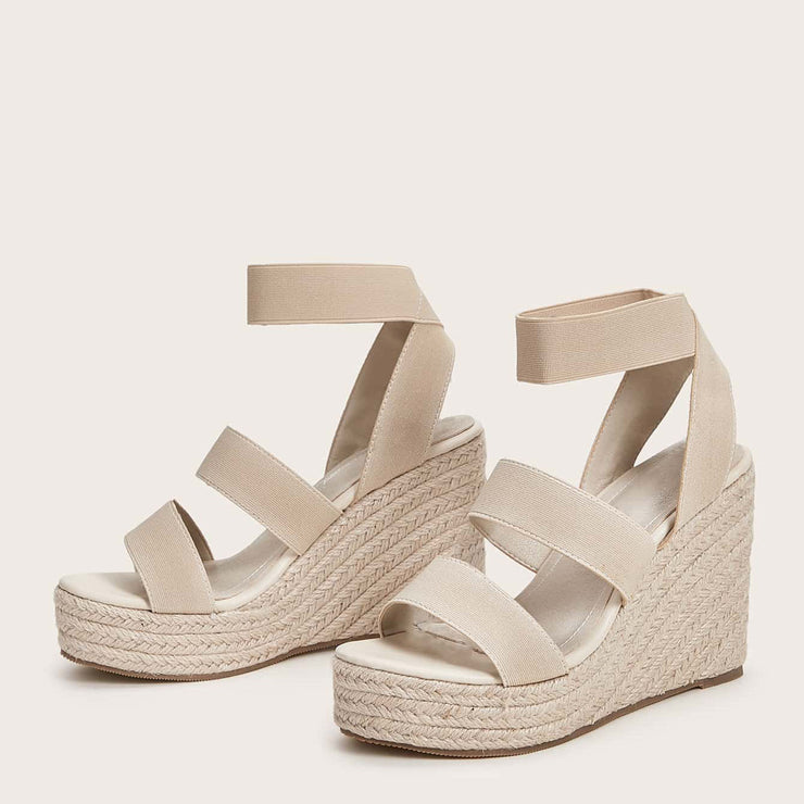 Women's Elastic Band Design Espadrille Wedges