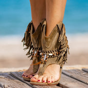 Women's Boho Suede Fringes Boots Sandals with Feathers