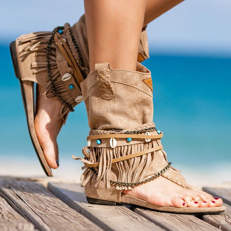 Women's Boho Suede Fringes Boots Sandals with Chains