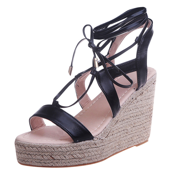 Women's Wedge High Heels Buckle Belt Leak Toe Sandals