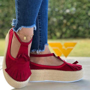 Women's Comfy Canvas Sole Tassel Platform Sandals