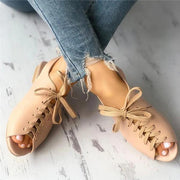 Women's Vintage Lace Up Fish Flat Sandals