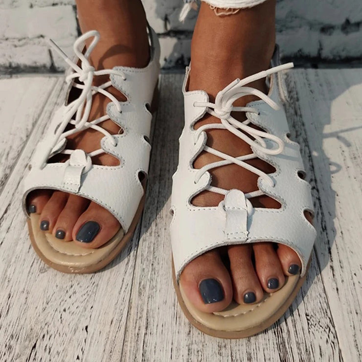 Women's Summer Lace Up Slingback Buckle Sandals
