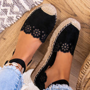 Women's Thick Bottom Waterproof Platform Word Buckle Hollow Straw Sandals
