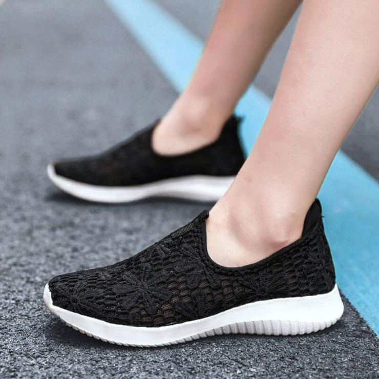 Women's Athletic Mesh Hollow-out Slip On Flat Heel Sneakers