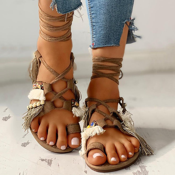 Women's Casual Summer Bohemian Lace Up Flat Sandals