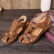 Women's Closed Toe Floral Embroidery Hook Loop Hand Made Sandals