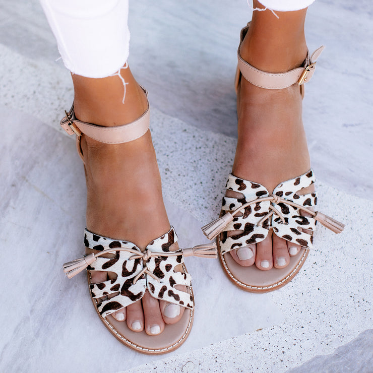 Women's Leopard Bow Strap Sandals