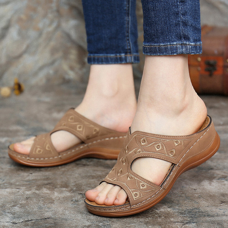 Women's Stitching Comfortable Wedges Heel Beach Slippers