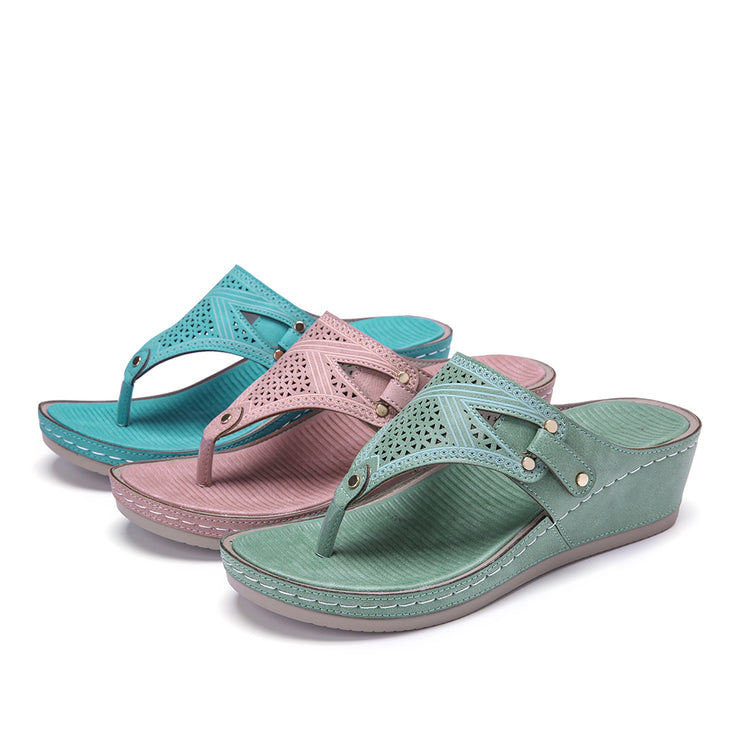 Women's Handmade Stitching Hollow Clip Toe Casual Comfy Sandals