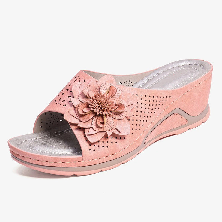 Women's Flower Decoration Adjustable Strap Hollow Out Slip On Casual Summer Sandals